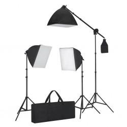 stradeXL Zestaw oświetleniowy, 3 lampy ze statywem i softboxem.