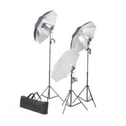 stradeXL Zestaw oświetleniowy do studio ze statywami i parasolkami