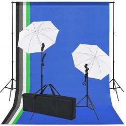 stradeXL Sprzęt do studia fotograficznego: tło 5 kolorów i 2 parasolki