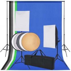 stradeXL Sprzęt do studia fotograficznego: tło 5 kolorów i 2 softboxy