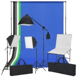stradeXL Zestaw do studia ze stołem fotograficznym, lampami i tłami