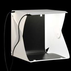stradeXL Składany lightbox studyjny z lampami LED, 23x25x25 cm, biały