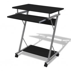 stradeXL Compact Computer Desk with Pull-out Keyboard Tray Black