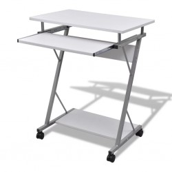 stradeXL Compact Computer Desk with Pull-out Keyboard Tray White