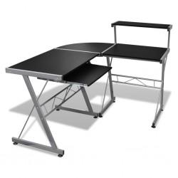 stradeXL Biurko komputerowe z ruchomą półką na klawiaturę, czarne