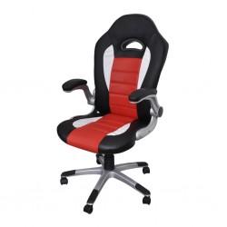 Nowoczesny skórzany fotel biurowy (Czerwony)