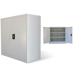 stradeXL Szafa biurowa z 2 drzwiami, szara, 90 cm, stalowa