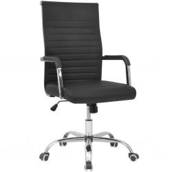stradeXL Krzesło biurowe, sztuczna skóra, 55 x 63 cm, czarne