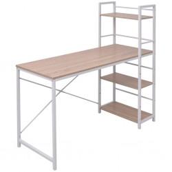 stradeXL Desk with 4-Tier Bookcase Oak