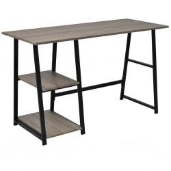 stradeXL Desk with 2 Shelves Grey and Oak