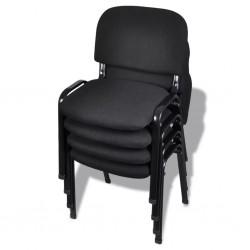stradeXL Krzesło biurowe tapicerowane tkaniną 4 szt., sztaplowane, czarne