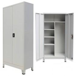stradeXL Locker Cabinet with 2 Doors Steel 90x40x180cm Grey
