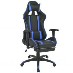 stradeXL Regulowane krzesło biurowe z podnóżkiem, niebieskie