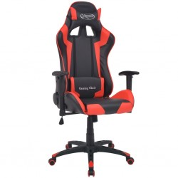 stradeXL Rozkładane krzesło biurowe, sportowe, sztuczna skóra, czerwone
