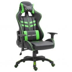 stradeXL Fotel dla gracza, zielony, sztuczna skóra
