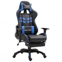 stradeXL Fotel dla gracza z podnóżkiem, niebieski, sztuczna skóra