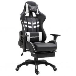 stradeXL Fotel dla gracza z podnóżkiem, biały, sztuczna skóra