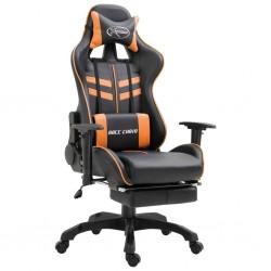 stradeXL Fotel dla gracza z podnóżkiem, pomarańczowy, sztuczna skóra