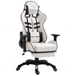 stradeXL Fotel dla gracza z podnóżkiem, czarny, sztuczna skóra