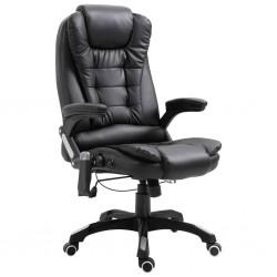 stradeXL Krzesło biurowe z masażem, czarne, sztuczna skóra