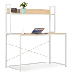stradeXL Computer Desk White and Oak 120x60x138 cm