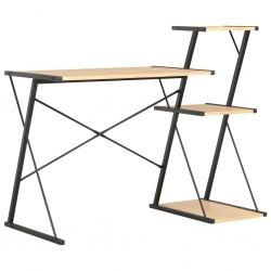 stradeXL Desk with Shelf Black and Oak 116x50x93 cm