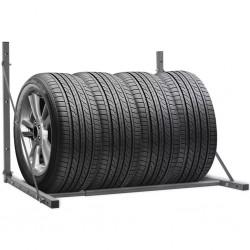 stradeXL Foldable Tyre Rack Silver Galvanised Steel