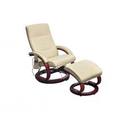 stradeXL Fotel masujący z podnóżkiem, kremowy, sztuczna skóra