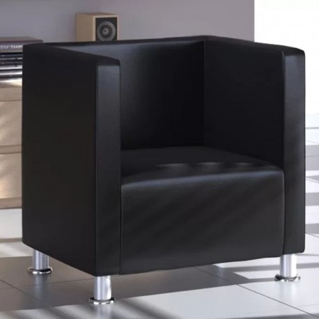 stradeXL Fotel kubik, czarny, sztuczna skóra