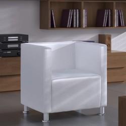 stradeXL Fotel kubik, biały, sztuczna skóra
