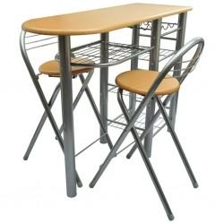 stradeXL Zestaw do baru lub kuchni, stół i krzesła, drewno