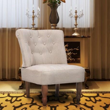 stradeXL Fotel francuski, kremowy, materiałowy
