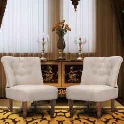stradeXL Fotele w stylu francuskim, 2 szt., kremowe, tkanina