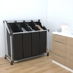 Laundry sorter with 4 bags black grey
