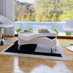 stradeXL Coffee Table Shape-adjustable High Gloss White