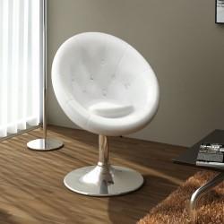stradeXL Krzesło barowe, białe, sztuczna skóra