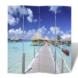 stradeXL Składany parawan, 160x170 cm, motyw plaży