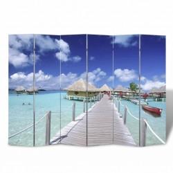 stradeXL Składany parawan, 240x170 cm, motyw plaży