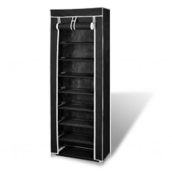 Fabric Shoe Cabinet with Cover 162 x 57 x 29 cm Black