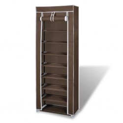 Fabric Shoe Cabinet with Cover 162 x 57 x 29 cm Brown