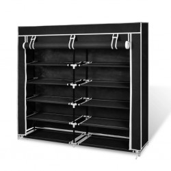 stradeXL Fabric Shoe Cabinet with Cover 115 x 28 x 110 cm Black