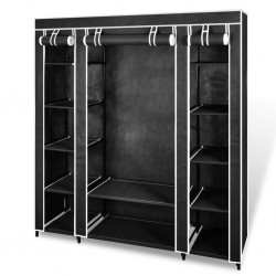 stradeXL Fabric Wardrobe with Compartments and Rods 45x150x176 cm Black
