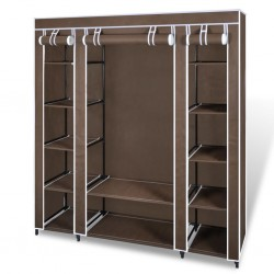stradeXL Fabric Wardrobe with Compartments and Rods 45x150x176 cm Brown
