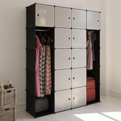 stradeXL Modular Cabinet 14 Compartments Black and White 37x146x180.5 cm