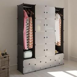 stradeXL Modular Cabinet 18 Compartments Black and White 37x146x180.5 cm