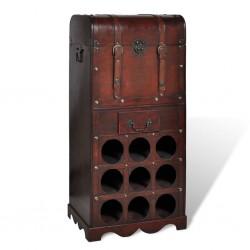 stradeXL Drewniany stojak na 9 butelek z kufrem i szufladą