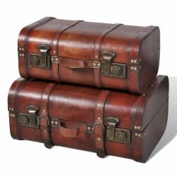 stradeXL Drewniane kufry vintage, brązowe, 2 szt.