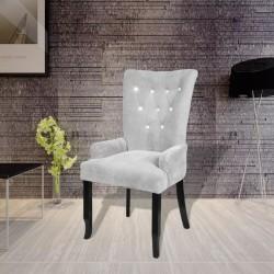 stradeXL Fotel, srebrny, aksamit