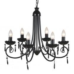 Pendant Ceiling Lamp Elegant Chandelier Black 6 Bulb Sockets