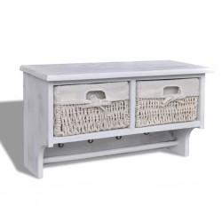 stradeXL Wall Shelf White 60x23.5x33 cm Paulownia Wood